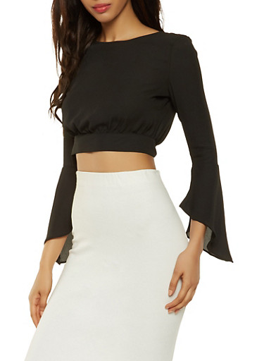 Cropped Open Back Bell Sleeve Blouse,BLACK,large