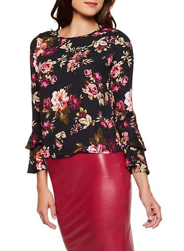 Floral Bell Sleeve Top,BLACK,large