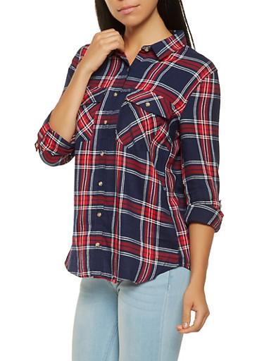 Plaid Tabbed Sleeve Shirt,NAVY,large