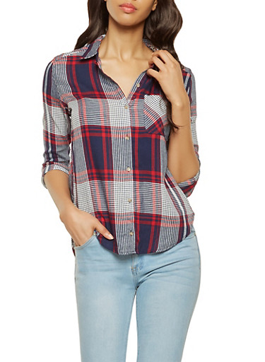 Plaid Button Front Shirt,NAVY,large
