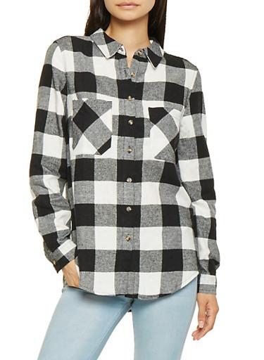 Buffalo Plaid Shirt,BLACK,large