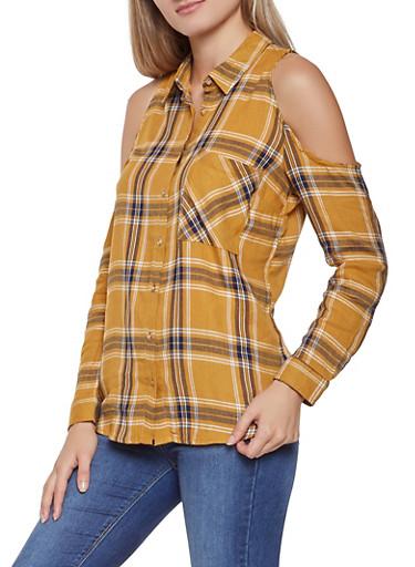 Plaid Cold Shoulder Shirt,MUSTARD,large