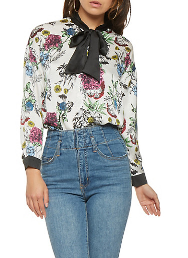 Floral Satin Button Front Shirt,WHITE,large