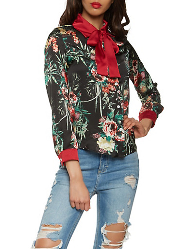 Floral Satin Button Front Top,BLACK/RED,large