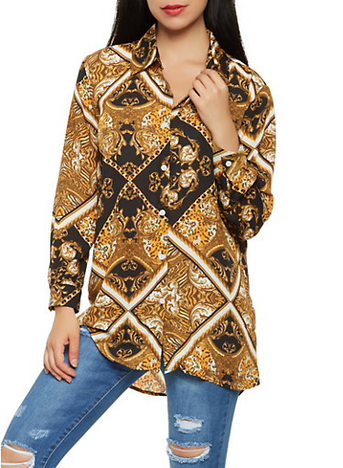 Printed Button Front Shirt,GOLD,large