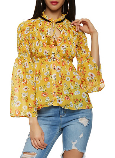 Floral Tie Neck Button Front Top,MUSTARD,large