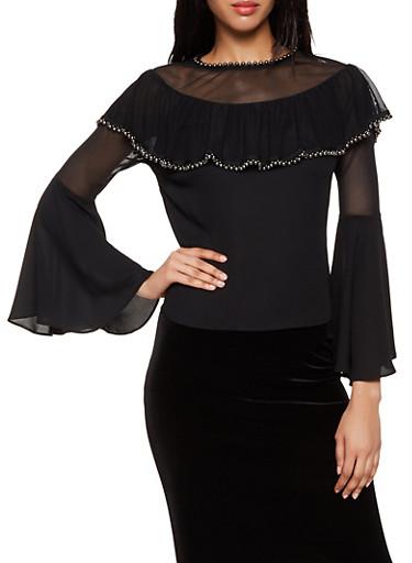 Faux Pearl Studded Mesh Yoke Top,BLACK,large