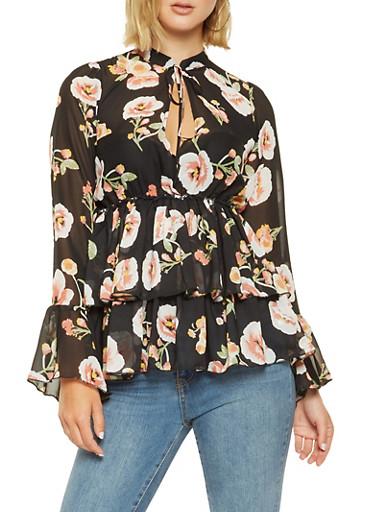 Floral Tiered Chiffon Peplum Top,BLACK,large