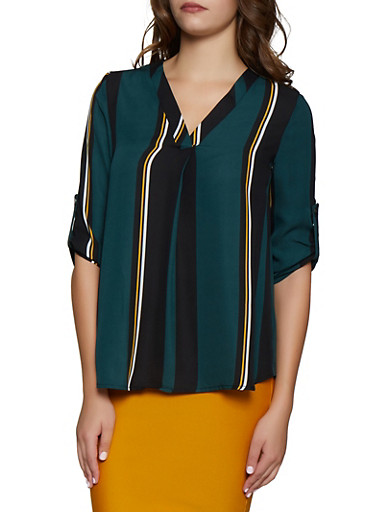Striped Tabbed Sleeve Blouse,HUNTER,large