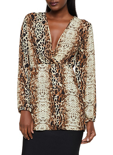 Mixed Animal Print Faux Wrap Top,BROWN,large