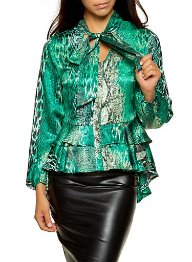Snake Print Tie Neck Peplum Blouse,GREEN,large