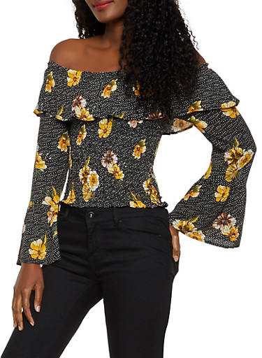 Floral Polka Dot Off the Shoulder Top,MUSTARD,large
