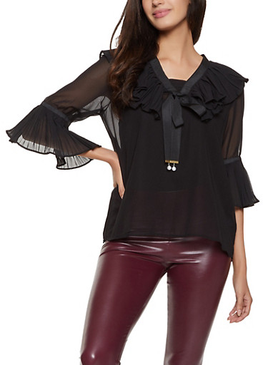 Pleated Detail Blouse,BLACK,large