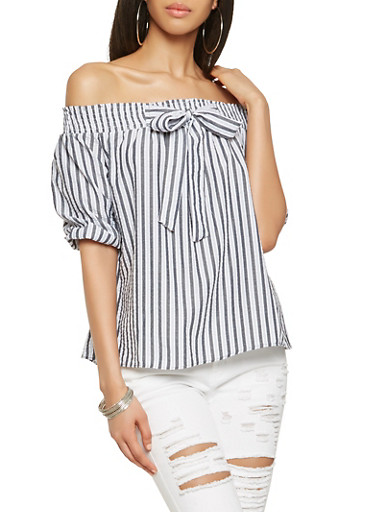 Striped Off the Shoulder Tie Front Top,GRAY,large