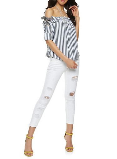 Striped Lace Up Off the Shoulder Top,GRAY,large