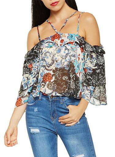 Printed Cold Shoulder Blouse,NAVY,large