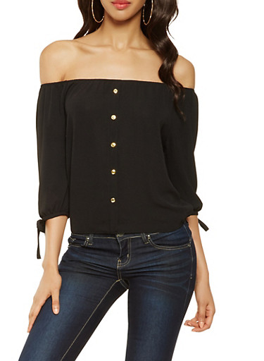 Tie Sleeve Off the Shoulder Top,BLACK,large