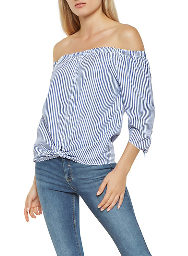 Striped Off the Shoulder Tie Sleeve Top,BLUE,large