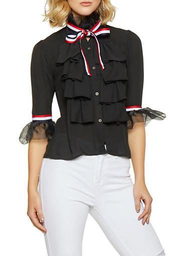 Ruffled Striped Tape Trim Shirt,BLACK,large