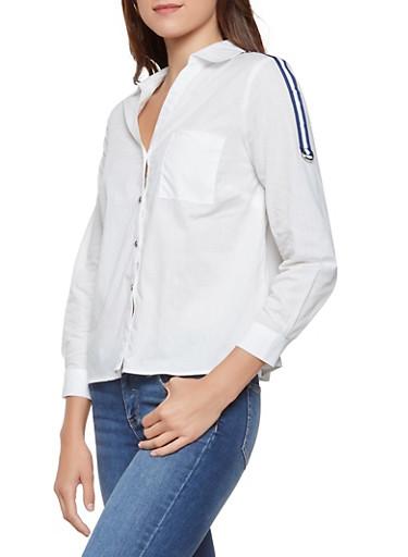 Striped Ribbon Trim Shirt,WHITE,large