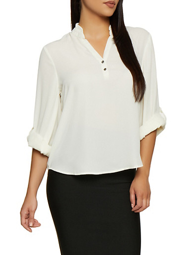 Half Button Tab Sleeve Blouse,IVORY,large