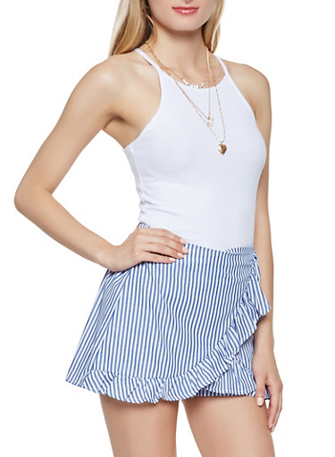 Ribbed Knit Cami,WHITE,large
