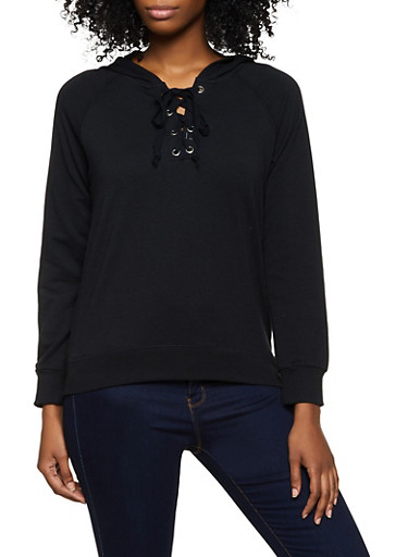 Lace Up French Terry Sweatshirt,BLACK,large