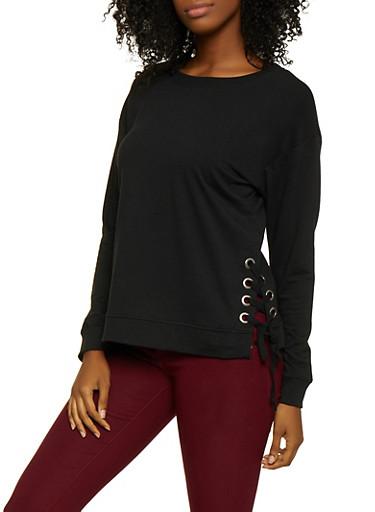 Lace Up Sweatshirt,BLACK,large