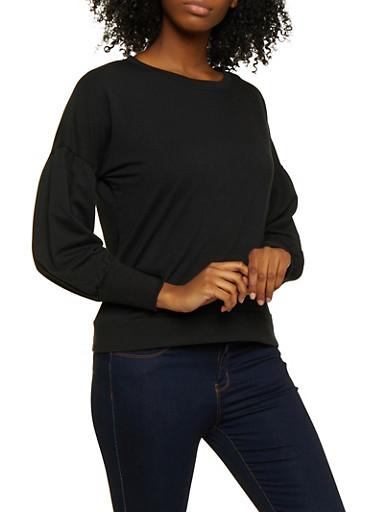 Bubble Sleeve Sweatshirt,BLACK,large