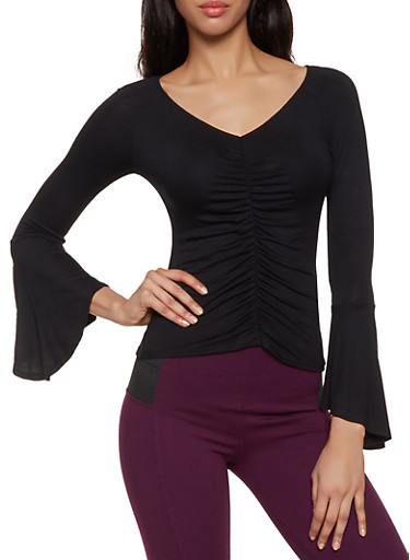 Ruched Front Bell Sleeve Top,BLACK,large