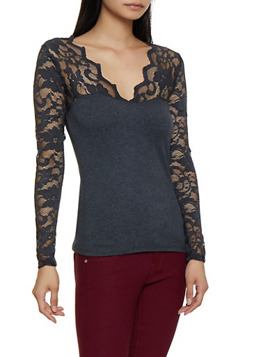 Long Sleeve Lace Top,CHARCOAL,large