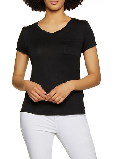V Neck Solid Tee,BLACK,large
