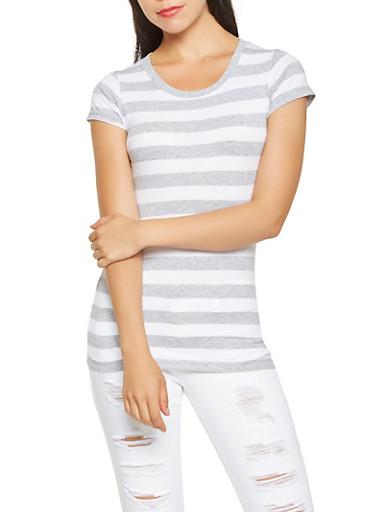 Striped Scoop Neck Tee,HEATHER,large