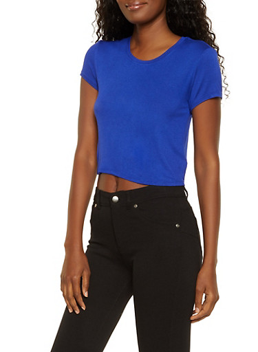 Solid Cropped Tee,RYL BLUE,large