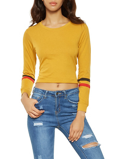 Striped Sleeve Tee,MUSTARD,large