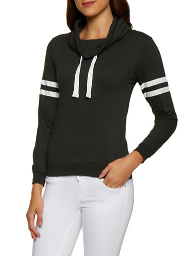 Funnel Neck Varsity Stripe Sweatshirt,BLACK,large