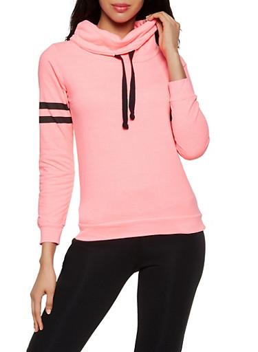 Varsity Stripe Funnel Neck Sweatshirt,NEON PINK,large