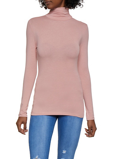 Long Sleeve Ruched Turtleneck Top,MAUVE,large