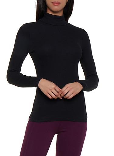 Ribbed Knit Turtleneck Top,BLACK,large