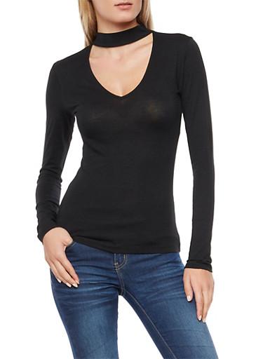 Long Sleeve Choker Neck Top,BLACK,large