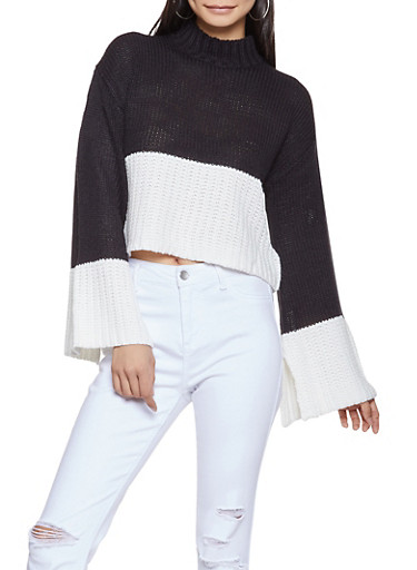Color Block Cropped Sweater,BLACK/WHITE,large