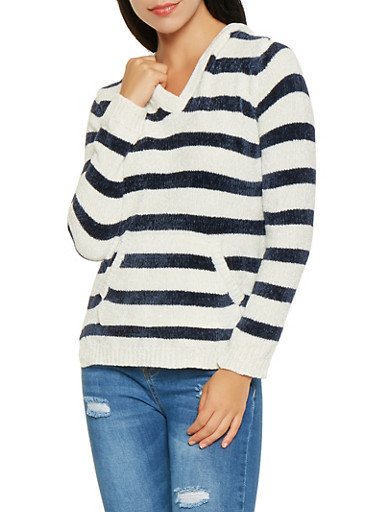 Striped Hooded Sweater,NAVY,large