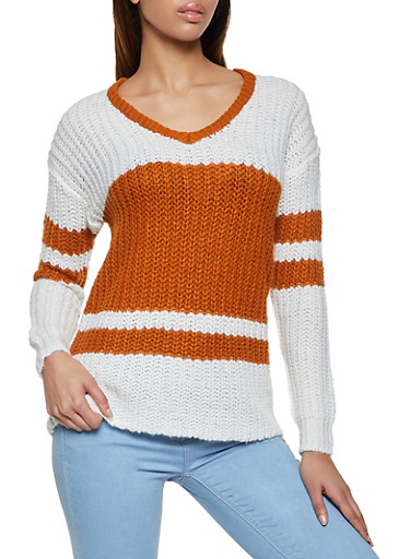 Striped Pointelle V Neck Sweater,BROWN,large