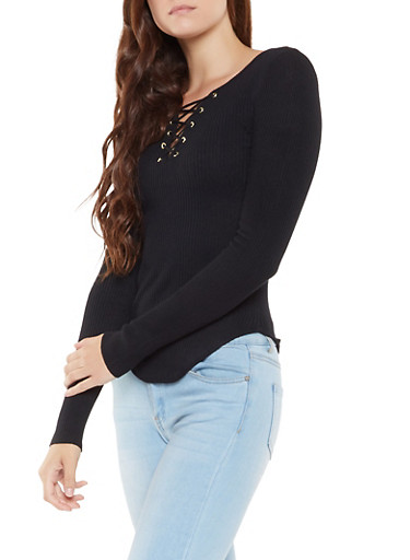 Lace Up Ribbed Knit Sweater,BLACK,large