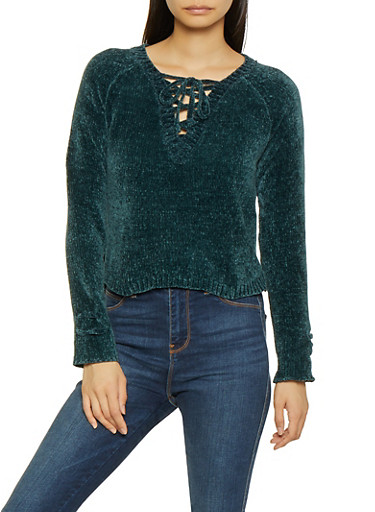 Lace Up High Low Sweater,TEAL,large
