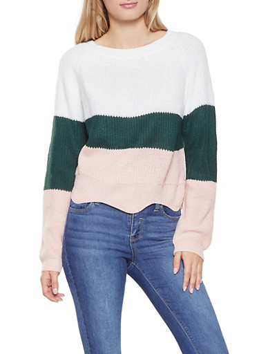 Color Block Sweater,IVORY,large