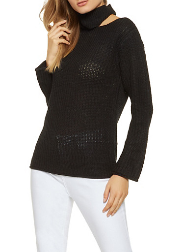 Cut Out Detail Sweater,BLACK,large