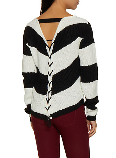 Lace Up Back Striped Knit Sweater,BLACK/WHITE,large