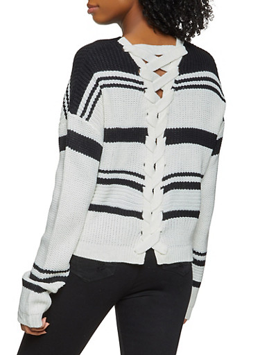Striped Lace Up Back Sweater,BLACK/WHITE,large
