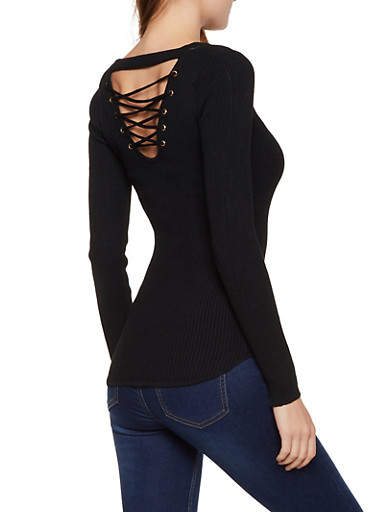 Solid Lace Up Back Sweater,BLACK,large